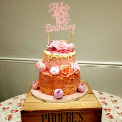 pink two tier 18th birthday celebration cake